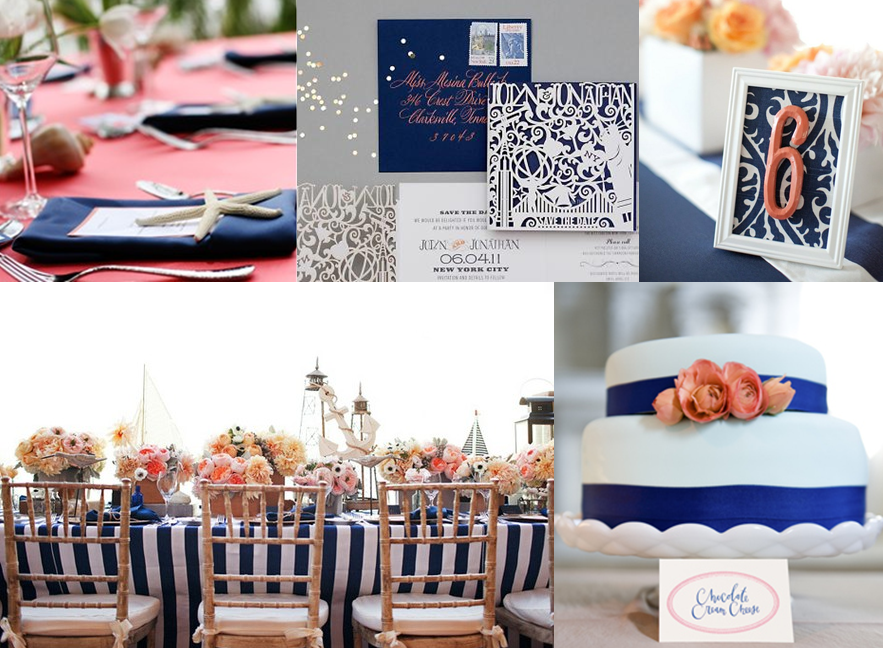 Navy And Coral Wedding Colors: A Coral Spin On Navy