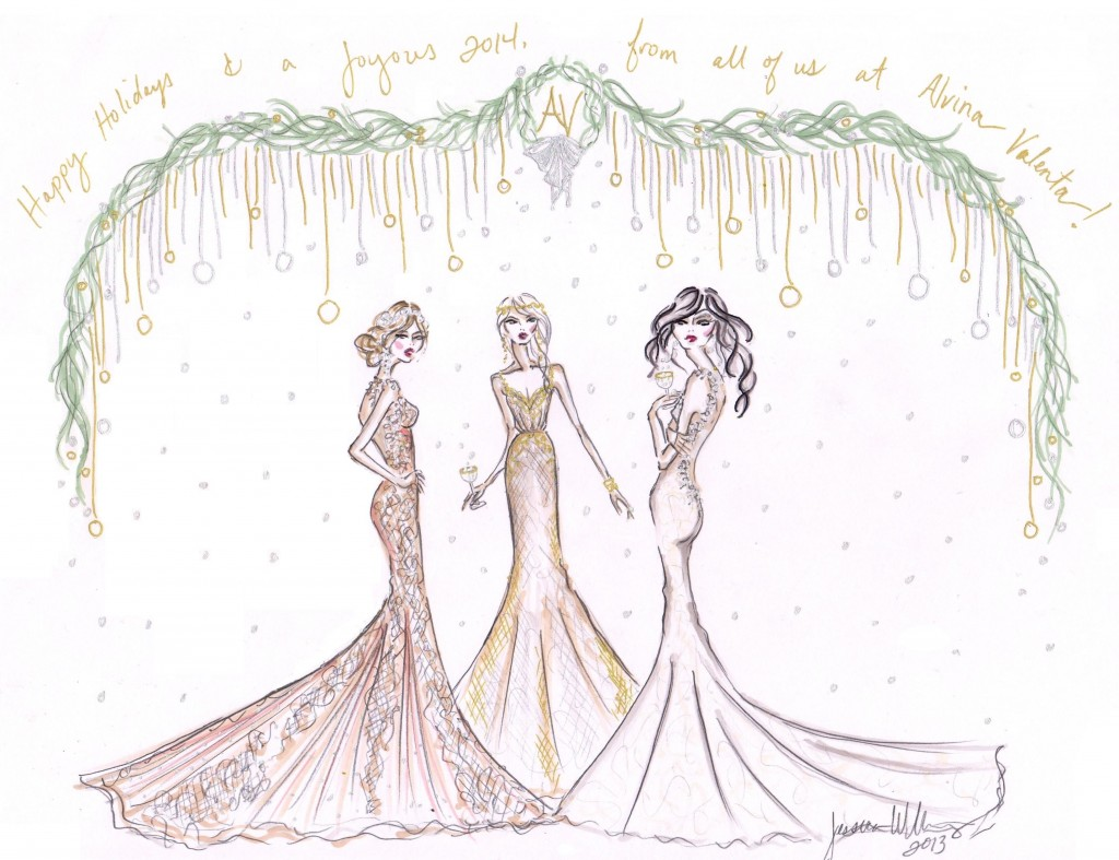 holiday wedding gown sketches