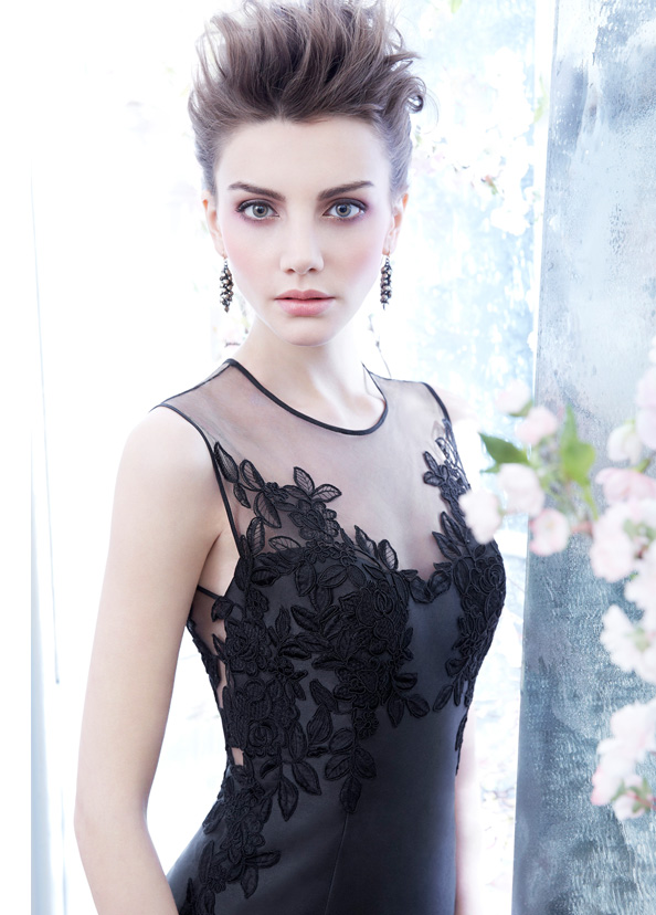 noir-by-lazaro-bridesmaid-mikado-cocktail-dress-illusion-neckline-floral-organza-embroidery-pencil-skirt-3421_zm