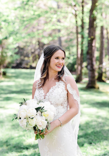 Real Bride Jackie in Lazaro Wedding Dress Style 3656