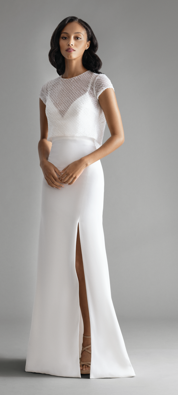 b3366b42a4b Above and below  Style 7904 Delphine  Ivory crepe sheath gown with sequin  lattice bolero. Low v-neckline with double spaghetti straps