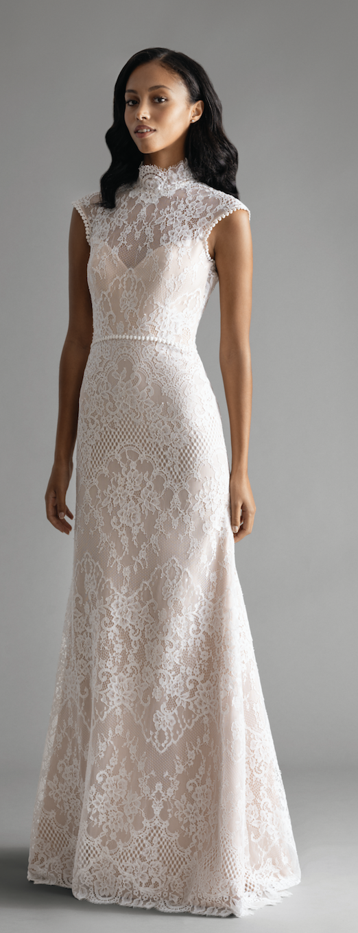 f2a430dd71e Above and below  Style 7902 Rollins  Ivory   Cashmere lace trumpet gown.  High neck lace illusion bodice with pom trim detailing and low ruched  keyhole back.