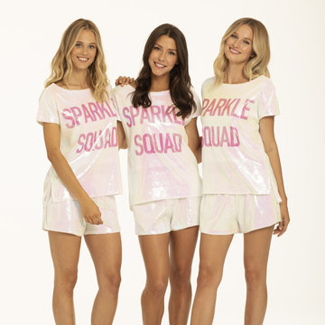 Hologram sequin tee shirt and short set Sparkle Squad