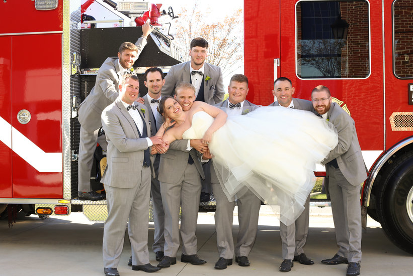 Bride with groomsmen