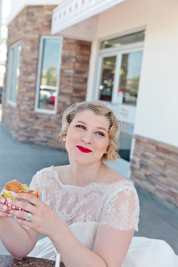 bride eating In&Out burger