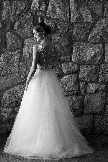 black and white photo from wedding dress