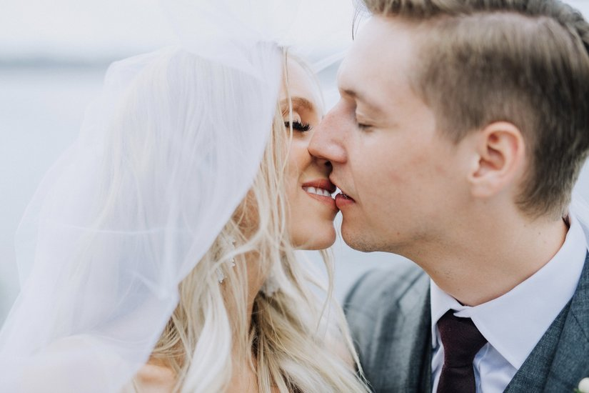 Krystyl and Keith kissing under veil