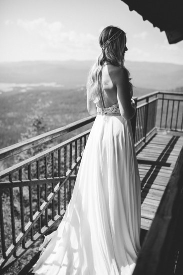 Bride on fire lookout in Whitefish, MT - Joelle Julian Photography