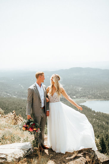 First look on a mountain top in Whitefish, MT - Joelle Julian Photography