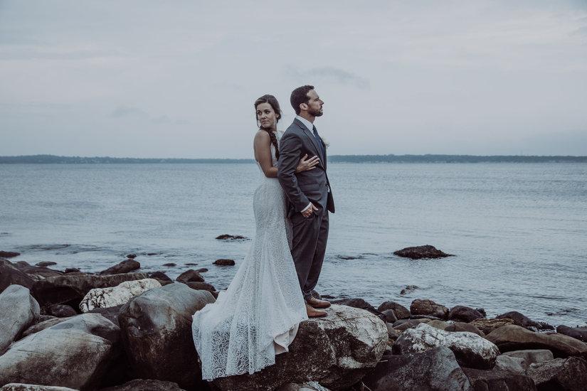 Bride and Groom on rocks