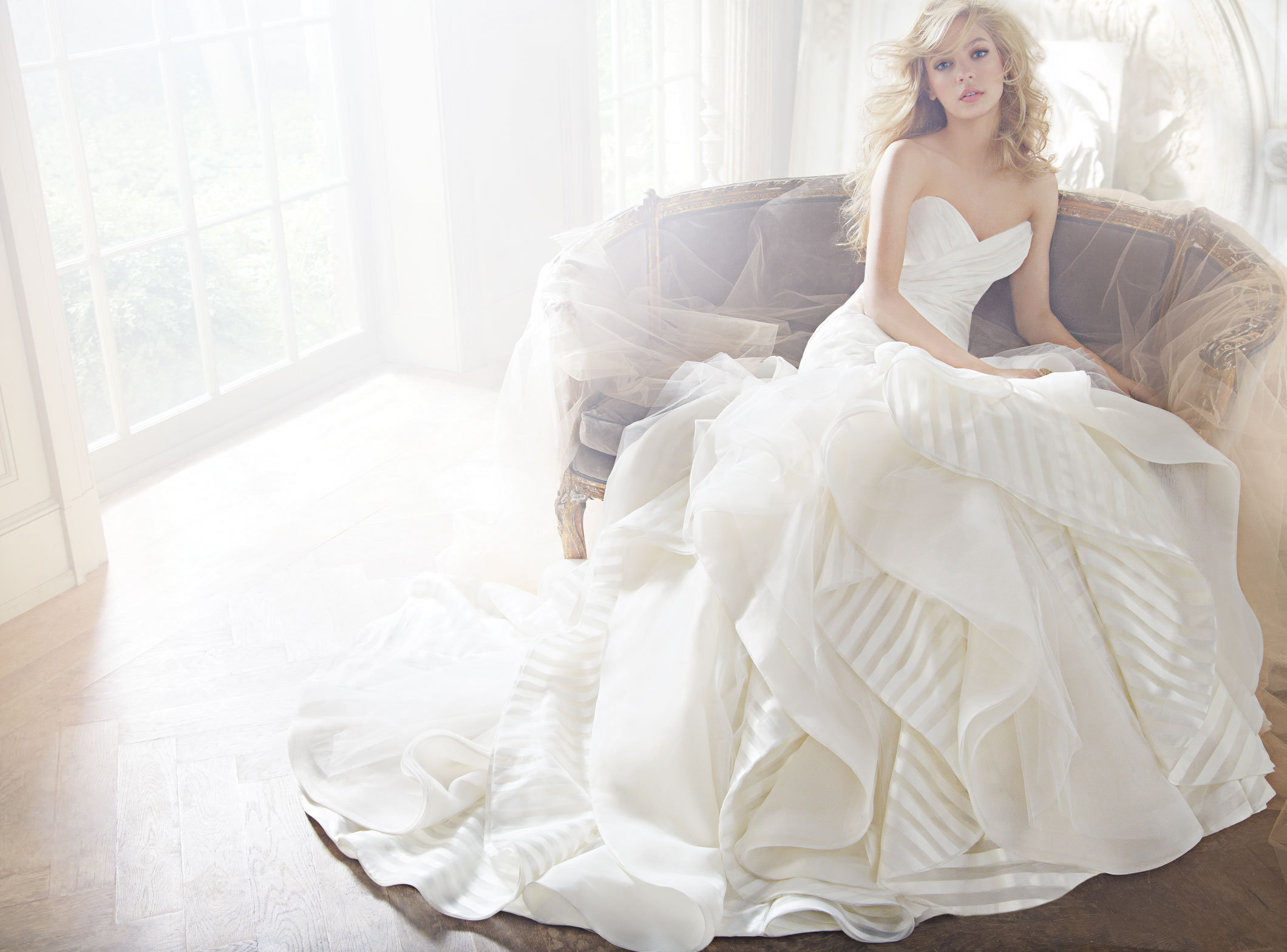 download to save keaton ivory strapless striped organza bridal