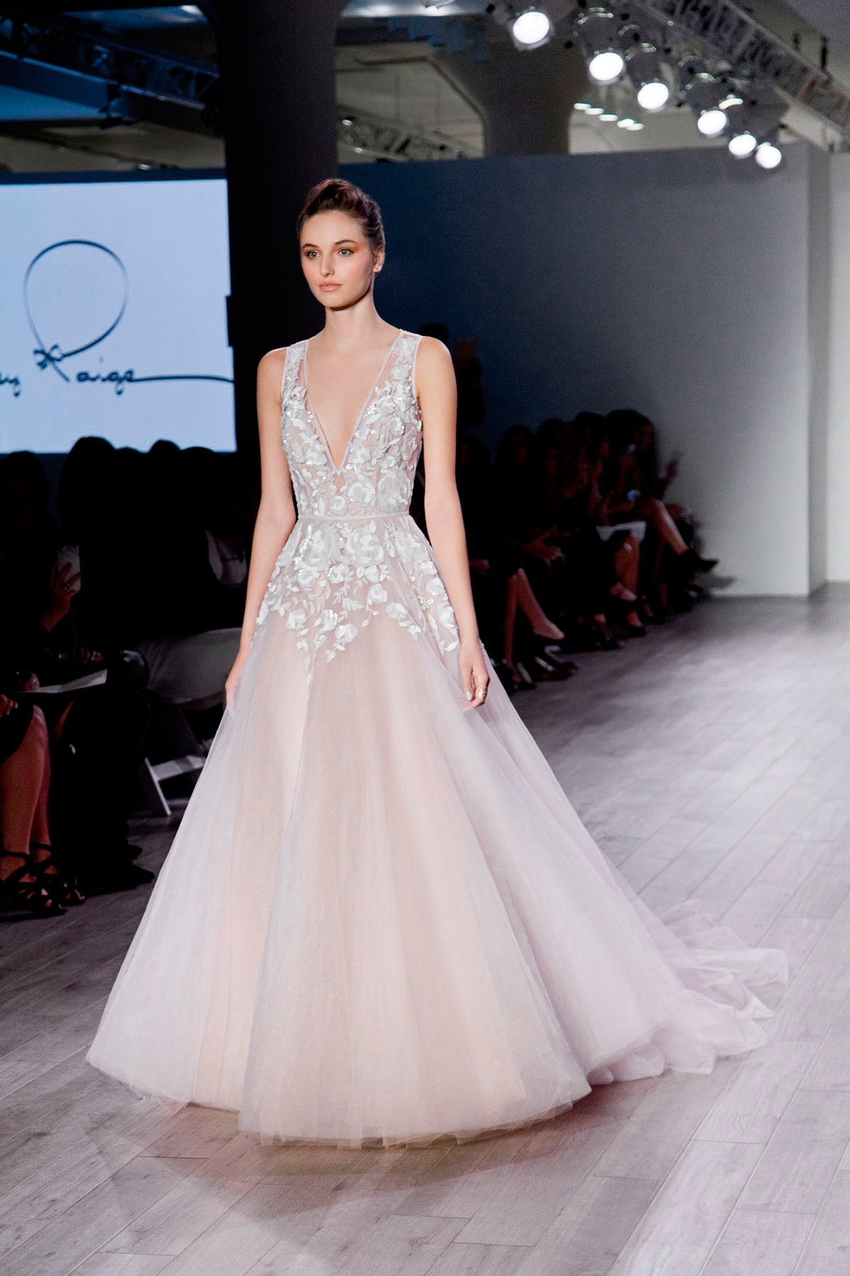 hayley paige bridal floral sequin ball sleeveless v neck full tulle skirt cathedral train 6604_x2
