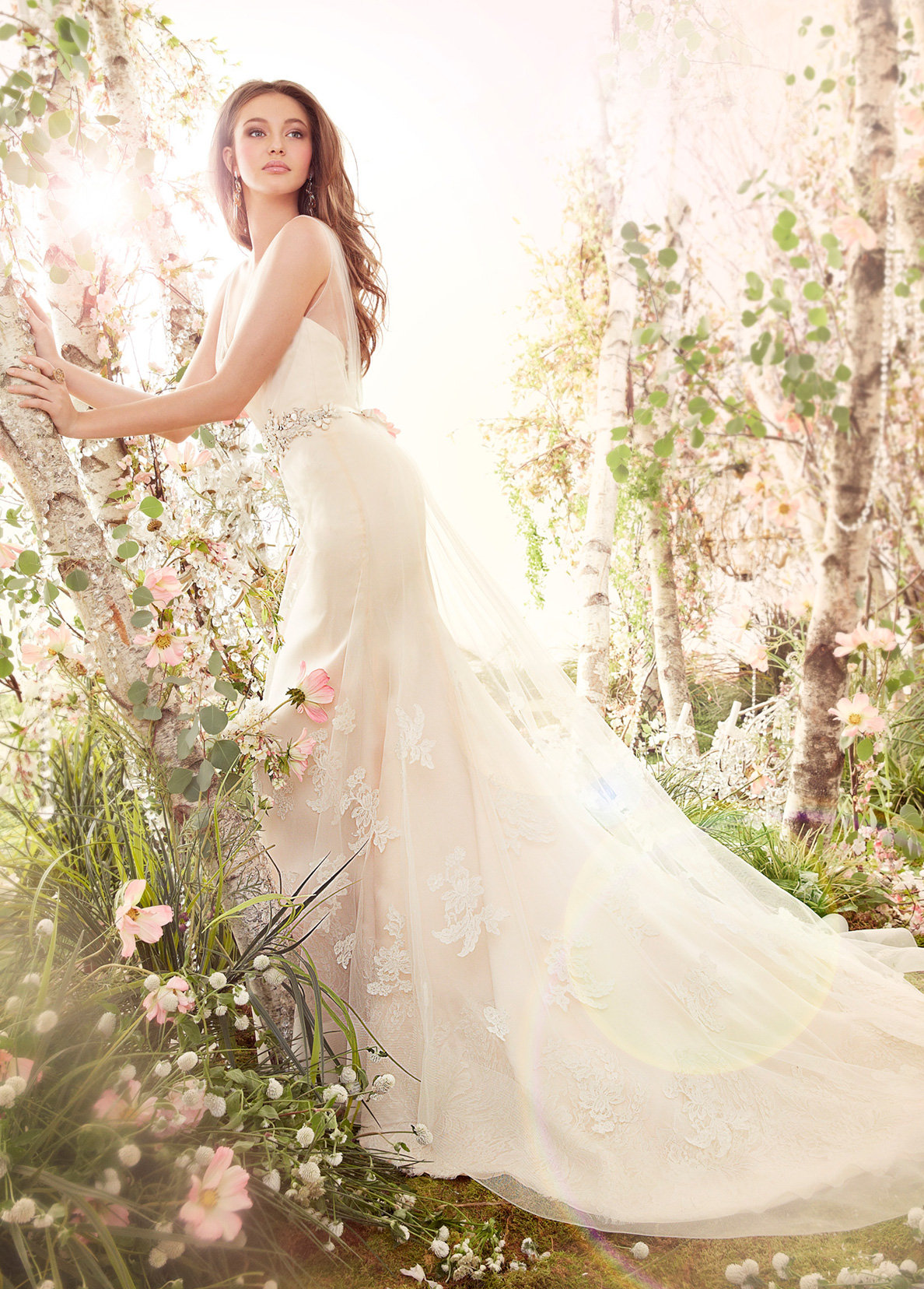 lace organza v neck a line wedding gown chapel train