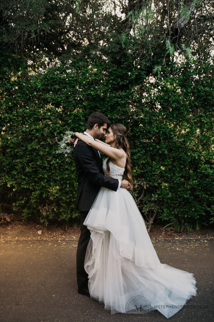 couple photo featuring hayley paige dress
