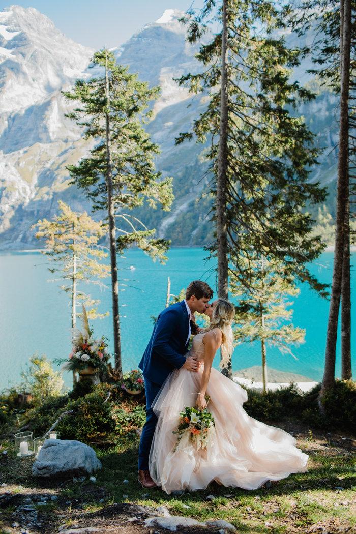 Lake Oeschinen, lake elopement, Swiss Mountains